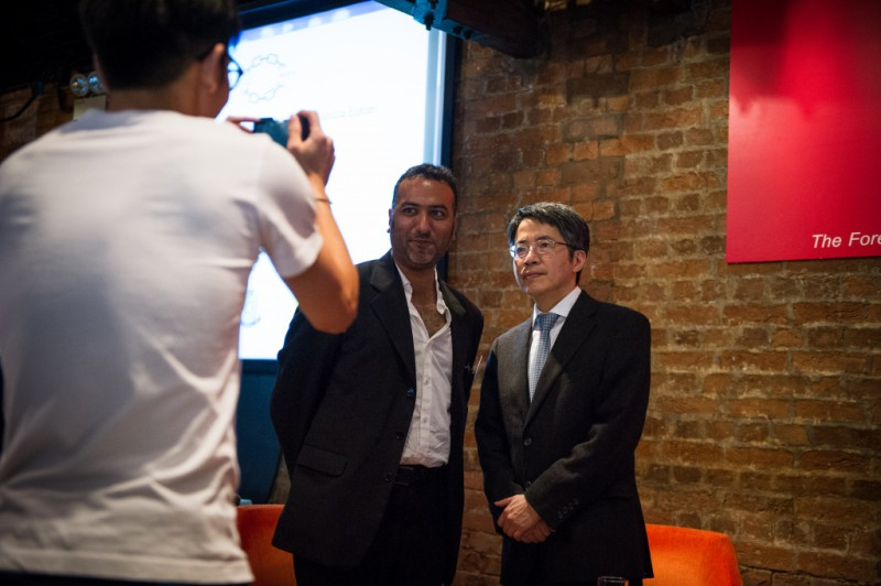 The FCC president, Jitendra Joshi,  posts with our guest speaker, Ming Pao journalist Kevin Lau.