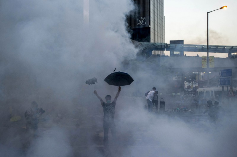 """The Umbrella Man"". Hong Kong's Occupy Central protests. By Xaume Olleros. Agence France-Presse"