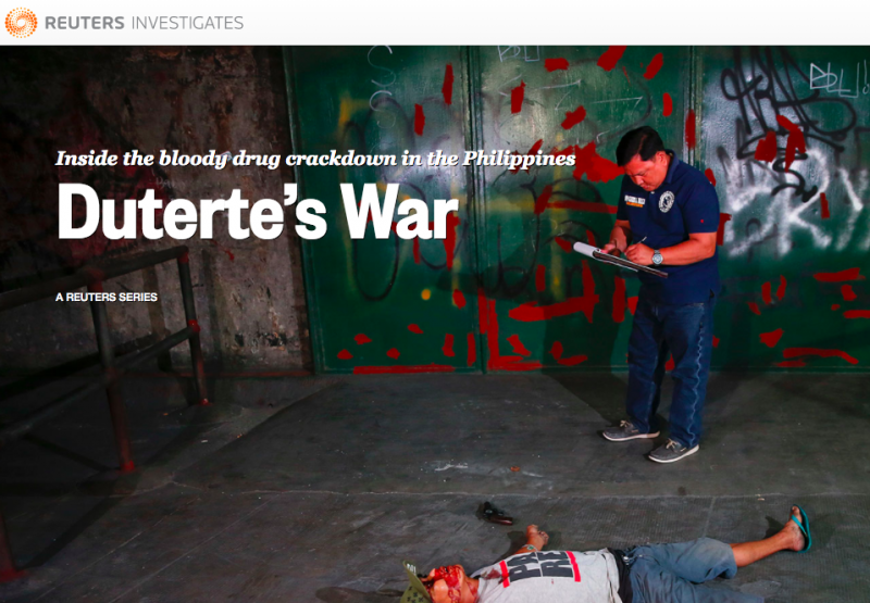 Reuters won a merit for its reporting on Duterte's war on drugs.