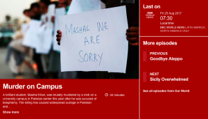 """Murder on campus, by Secunder Kermani of BBC News, """"Our World"""""""
